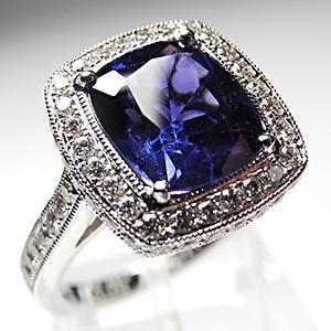 Nautral color change sapphire & diamond engagement ring solid 18 K